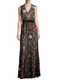 Alice + Olivia Sleeveless Embroidered Lace Column Gown