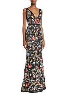Alice + Olivia Sleeveless Floral Embroidered Satin Gown