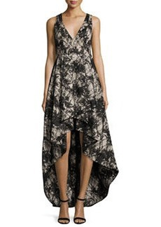 Alice + Olivia Sleeveless Lace High-Low Cocktail Dress