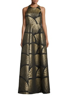 Alice + Olivia Sleeveless Metallic Scallop Racerback Gown