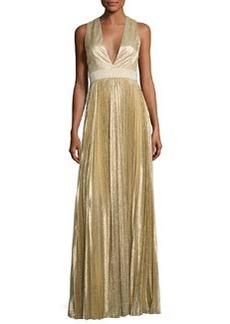 Alice + Olivia Sleeveless Pleated Metallic Gown