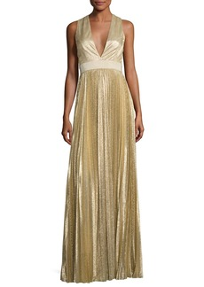 Alice + Olivia Sleeveless Pleated Metallic Gown