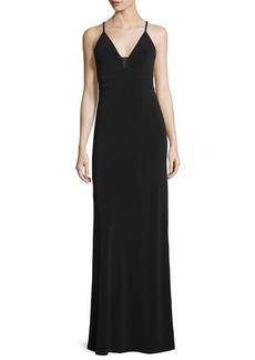 Alice + Olivia Sleeveless Sheer-Inset Maxi Dress