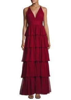 Alice + Olivia Sleeveless Tiered Silk Chiffon Gown