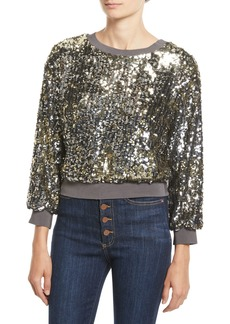 Alice + Olivia Smith Sequin Ribbed-Trim Cropped Sweatshirt