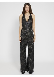 alice + olivia SOFIA SEQUIN DEEP V JUMPSUIT