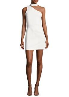 Alice + Olivia Soshana Collar One-Shoulder Fitted Mini Dress