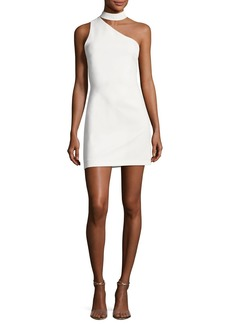 Alice + Olivia Soshana Collar One-Shoulder Fitted Mini Dress