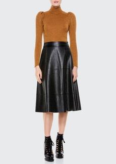 Alice + Olivia Sosie Studded Leather Midi Skirt
