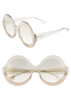 Alice + Olivia Stacey 56mm Round Gradient Lens Sunglasses