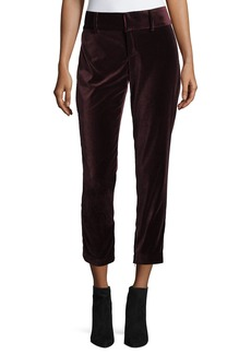 Alice + Olivia Stacey Slim High-Rise Velvet Ankle Pants