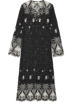Alice + Olivia Stara embroidered cotton-blend corded lace kaftan