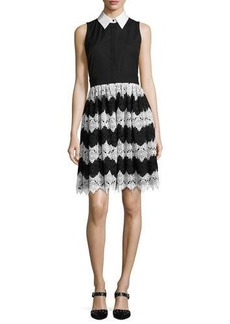Alice + Olivia Stari Collared Flare Midi Dress