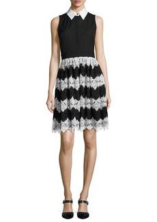 Alice + Olivia Stari Collared Flare Midi Dress