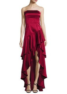 Alice + Olivia Strapless Tiered Asymmetric Satin Gown