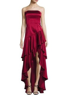 Alice + Olivia Strapless Tiered Asymmetric Satin Gown