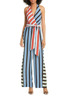 Alice + Olivia Stripe Block Halter Neck Jumpsuit