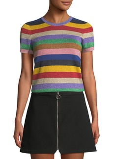 Alice + Olivia Striped Short-Sleeve Top