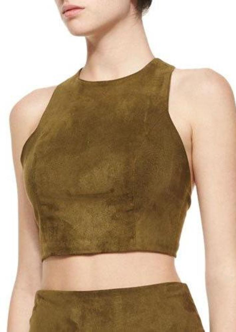 Alice + Olivia Suede Racerback Crop Top