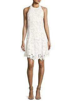 Alice + Olivia Susan Embroidered Halter Flare Dress