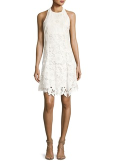 Alice + Olivia Susan Embroidered Halter Flare Dress