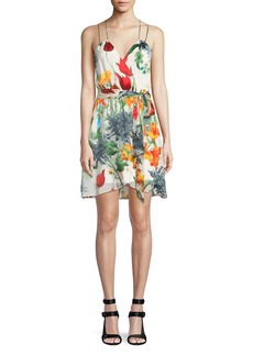 Alice + Olivia Susana Floral Faux-Wrap Dress