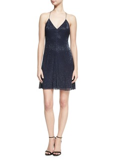 Alice + Olivia Suze V-Neck Sequined Mini Dress