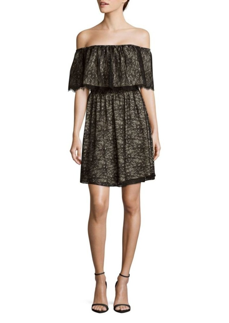 Alice + Olivia Suzy Floral-Lace Off-The-Shoulder Dress