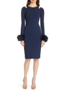 Alice + Olivia Tabitha Genuine Fox Fur Cuff Dress