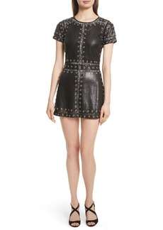 Alice + Olivia Tahlia Embellished Leather Panel A-Line Dress