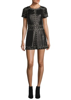 Alice + Olivia Tahlia Short-Sleeve Studded Leather A-line Mini Cocktail Dress