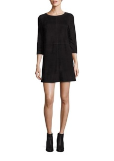 Alice + Olivia Tamar Suede A-Line Dress