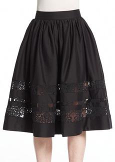 Alice + Olivia Tamia Lace-Trim Midi Skirt