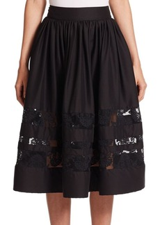 Alice + Olivia Tamia Lace-Trim Midi Skirt