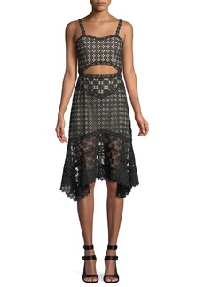 Alice + Olivia Tamika Cutout-Waist Lace Eyelet Handkerchief Dress