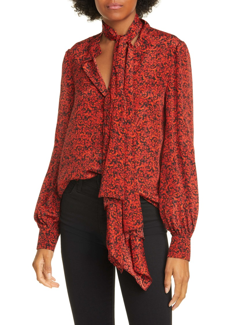 Alice + Olivia Tammy Removable Tie Long Sleeve Blouse