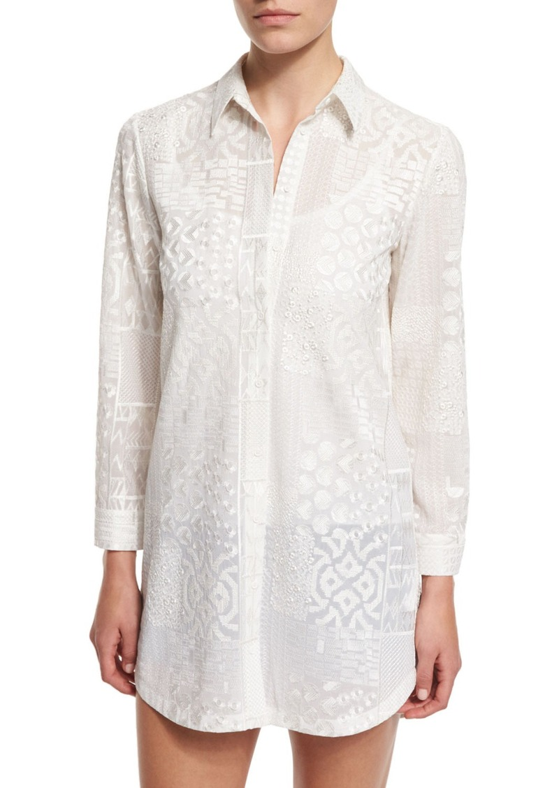 Alice + Olivia Tanisha Embroidered Button-Front Tunic