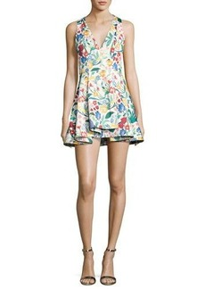 Alice + Olivia Tanner Asymmetric Floral Cocktail Dress
