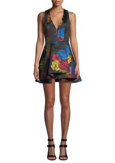 Alice + Olivia Tanner Floral-Print Asymmetrical Dress