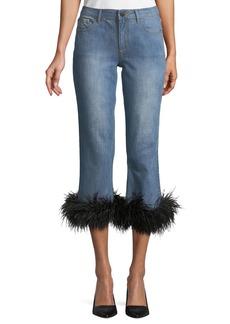 Alice + Olivia Tasha Cropped Feather-Hem Jeans