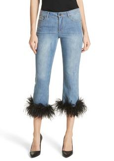 Alice + Olivia Tasha Feather Hem Crop Jeans