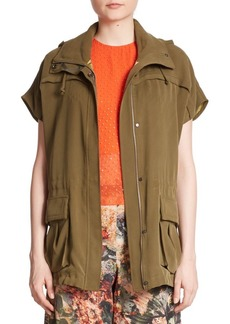 Alice + Olivia Tate Short-Sleeved Hooded Cargo Jacket