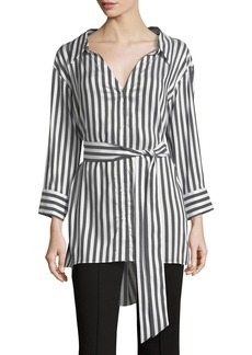 Alice + Olivia Tate Wide-Neck Button-Down Striped Shirt