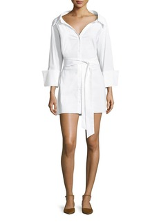 Alice + Olivia Tate Wide-Neck Button-Front Poplin Shirtdress