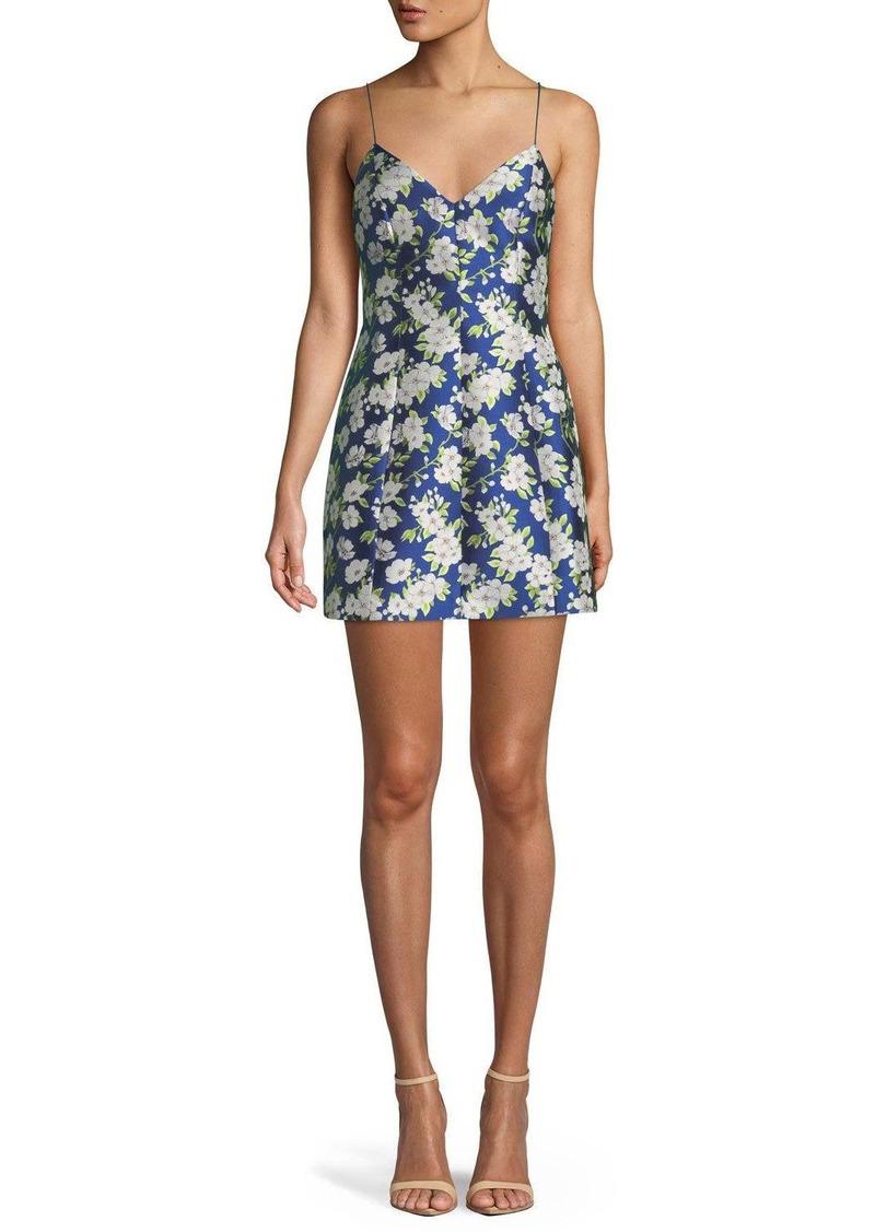 Alice + Olivia Tayla Floral-Print Lantern Mini Dress