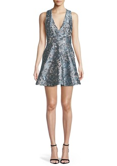 Alice + Olivia Tennie Floral Embroidered Mini Party Dress