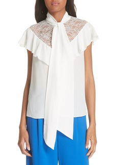 Alice + Olivia Terry Tie Neck Silk Blouse