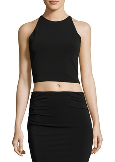Alice + Olivia Theodora Fitted Lace-Back Crop Top