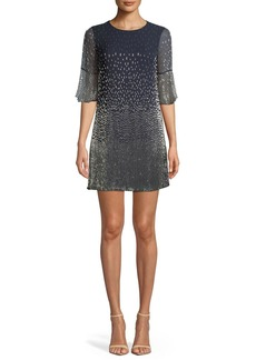 Alice + Olivia Thym Embellished Shift Trumpet-Sleeve Tunic Dress