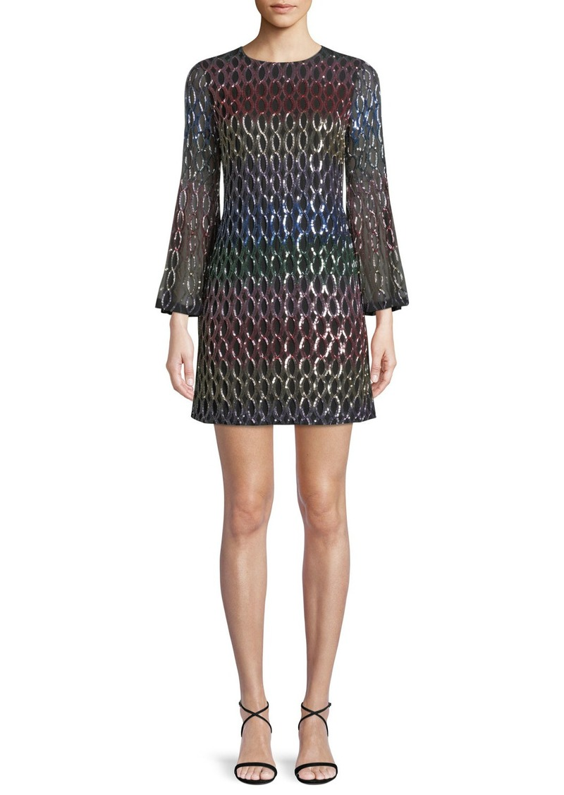 Alice + Olivia Thym Sequin Trumpet-Sleeve Cocktail Dress